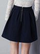 Navy Blue Folds Casual A-line Mini Skirt