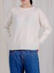 H-line Casual Knitted Plain Sweater