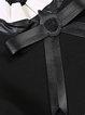 Black H-line Long Sleeve Bow Cotton-blend Blouse