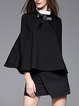 Black H-line Long Sleeve Bow Cotton-blend Blouse