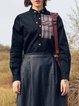 Black Cotton Vintage Long Sleeve Buttoned Blouse