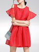 Red Girly Plain A-line Cold Shoulder Mini Dress