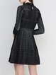 Black Elegant Printed Knitted A-line Sweater Dress