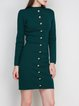 Buttoned Knitted Sheath Sweater Dress