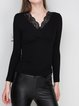 Black Knitted Lace Backless V Neck Sweater
