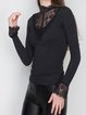 Black Turtleneck Lace Bell Sleeve Knitted Sweater