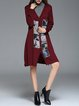 Burgundy Long Sleeve Printed V Neck A-line Cardigan
