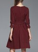 Burgundy Vintage Printed A-line Midi Dress