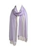 Lavender Hand Crocheted Beaded Chiffon Scarf
