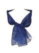 Navy Blue Elegant Organza Floral Scarf
