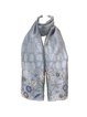 Gray Geometric Embroidered Cute Organza Scarf