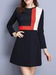 Navy Blue Color-block Casual Mini Dress