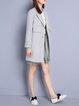 Light Gray Polyester Elegant Lapel Solid Coat