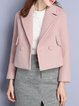 Pink Lapel Long Sleeve Cropped Jacket