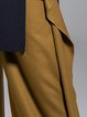 Camel Elegant Wool Blend Ruffled Solid Wide Leg Pants