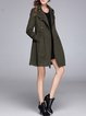 Army Green A-line Wool Blend Buttoned Coat