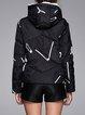 Geometric Zipper Hoodie Long Sleeve Down Coat