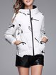 Geometric Zipper Hoodie Long Sleeve Down Coat