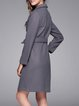 Pockets Buttoned Long Sleeve Shirt Collar Coat with Belt