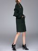 Dark Green Ruffled Drawcord Wool Blend Coat