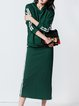 Dark Green Cotton Hoodie Two Piece Casual Midi Dress