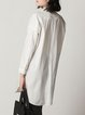 White Pockets Casual Letter Shirt Collar Tunic