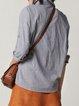 Gray Stripes Cotton 3/4 Sleeve Blouse