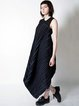 Black Draped Statement High Low Sleeveless Midi Dress