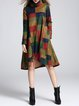 Multicolor Geometric Color-block Statement Turtleneck Midi Dress