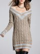 Long Sleeve Knitted H-line V Neck Casual Sweater Dress