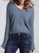 Lace-up Solid V Neck Casual Long Sleeve Sweater
