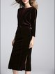 Drawcord Sheath Elegant Long Sleeve Slit Midi Dress