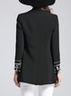 Black Beaded Long Sleeve A-line Elegant Blazer