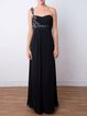 Black Slit Beaded One Shoulder Elegant Evening Dress