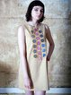 Beige Sleeveless Cotton H-line Appliqued Mini Dress
