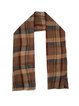 Brown Pleated Plaid Elegant Scarf