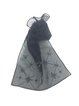 Black Geometric Embroidered Organza Scarf