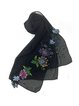 Black Elegant Hand Painting Lace Patch Scarf