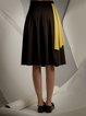Black Color-block A-line Statement Midi Skirt