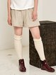 Beige Wool Plain Casual Woven Shorts With Belt