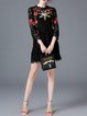 Black Floral Two Piece Embroidered Girly Mini Dress