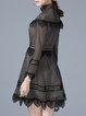 Long Sleeve Casual Lace A-line Pierced Mini Dress