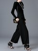 Pockets Wool Blend Elegant Solid Wide Leg Pants