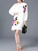 Floral Knitted Balloon Sleeve H-line Casual Sweater Dress