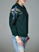 Dark Green Embroidered Crew Neck Long Sleeved Top