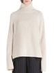 Slit Turtleneck High Low Raglan Sleeve Wool Blend Sweater