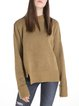 Solid Slit Stand Collar Long Sleeve Wool Blend Sweater