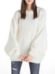 Knitted Casual Solid Balloon Sleeve Wool Blend Sweater