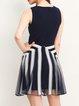 Navy Blue Paneled Skater Sleeveless Mini Dress