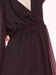 Shirred Chiffon Long Sleeve Plunging Neck Mini Dress